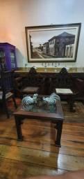 Moveis antigos, poltronas de madeira jacaranda e mesa de centro, antiguidades, reliquia