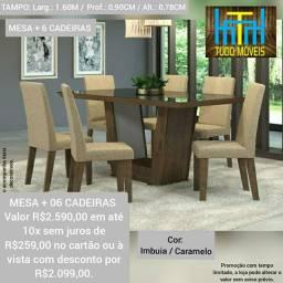 CONJUNTO DE JANTAR mesa com vidro e cadeiras almofadadas