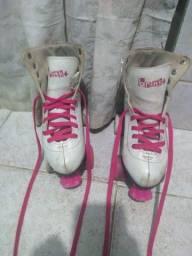Patins quad,rosa e branco
