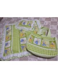 Vendo bolsa de tecido com trocador e travesseiro