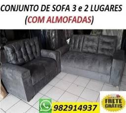 Solicite e Receba No Mesmo dia Conjunto de Sofa 3 e 2 Lugares Com Almofadas Novo 999,00