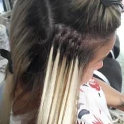 Mega hair na cola de keratina mão de obra