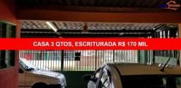 CASA ESCRITURADA, 3 QUARTOS, QUADRA 804, RUA TRANQUILA, GARAGEM COBERTA