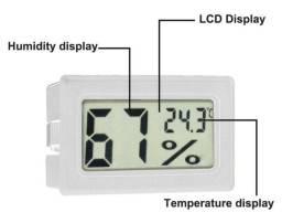 Mini termômetro digital LCD de umidade e temperatura interna