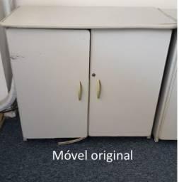 Armário baixo de escritório cinza 2 portas