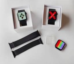 Smartwatch IWO W46 + Case de Proteção + 2 Pulseiras Extras (Aço e Velcro.