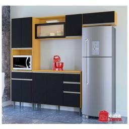 Cozinha Vanessa Damasco Preto 10 Portas com Design Moderno NOVA!