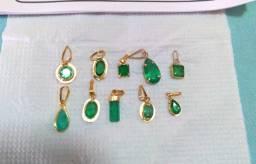 pigentes de esmeraldas baianas com ouro