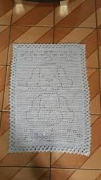 Tapete de crochê feito a mão cachorro