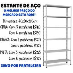 Estante/ Armário de Aço cinza 40 cm 5 bandejas Multi-uso