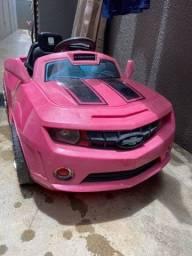 Carrinho elétrico infantil rosa Camaro bateria nova