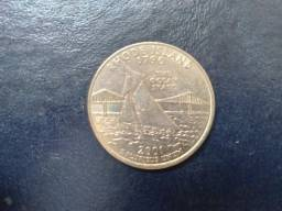 Moeda quarter  25 cents Rhode Island (moeda antiga comemorativa)