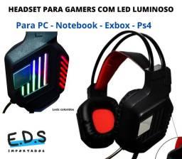 Headset Gamer Com Led Colorido Microfone P2 para Pc e Notebook