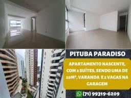 Pituba Paradiso, 2 suítes, nascente, varanda integrada em 84m² e 2 vagas na garagem