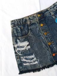 Saia jeans love luxo