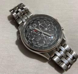 Relógio Citizen Eco Drive pulseira de aço e mostrador preto