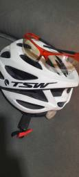 Capacete e óculos de ciclismo seminovo