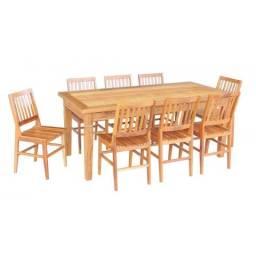 Conjunto Mesa Jantar 2m com 8 Cadeiras Madeira Demolicao Peroba Rosa