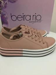 Tênis Beira Rio Napa Rosa - Tam 34