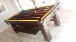 Mesa Madeira de Sinuca | Mesa Preta | Tecido Preto | Borda Amarela | Modelo: WVSE9941