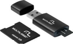 KIT 3 em 1 cartão micro sd 4GB + adaptador + leitor usb mc057
