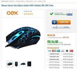 Mouse OEX + mouse pad OEX 3400DPI (semi novo )