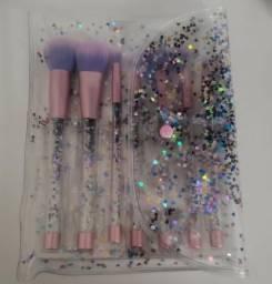 Kit 7 Pinceis de Glitter Sereia Tumblr + Necessaire Glitter - Novo