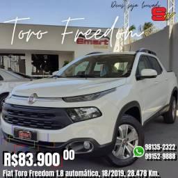 Smart Veículos - Fiat Toro Freedom 1.8 automático, 18/2019, 28.478 Km. R$ 83.900,00