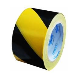 04 Fitas Zebrada Preta/amarelo Sinalização 70mm X 200m Plastcor