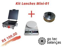 Kit Lanchonete Mini 01 - Chapa de Lanche + Balança Digital + Abafador de Hamburguer