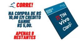 Promoção:Na Compra de R$ 10,00 em Credito Oi, Claro, Vivo ou Tim ganhe R$ 5,00