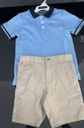 Cj Tommy Hilfiger Importado - Camisa Polo + bermuda bege - 4T