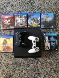 PS4 Slim 1TB + 2 Controles originais + 6 Jogos