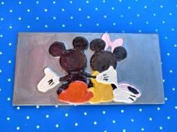 Quadro decorativo Mickey e Minie 12cm