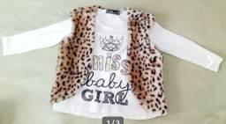 Camiseta e colete bebê menina,  tamanho 1