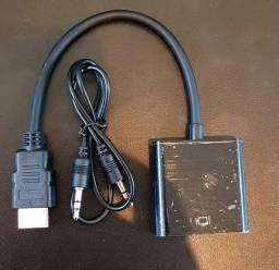 Adaptador cabo Hdmi x VGA com áudio