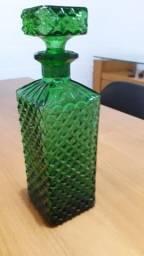 Garrafa/licoreira antiga cor esmeralda