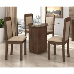 Conjunto sala de jantar Petra mesa com 4 cadeiras