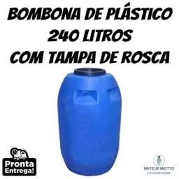 Bombona / Barica / Tambor / Galão / Reservatório de plástico 240 Litros com Tampa de Rosca