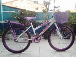 Bicicleta Aro 24 Feminina c/ Bagageiro, Branco c/ Violeta