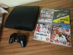 Playstation 3 com controle e jogos