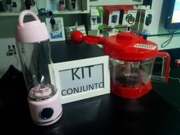 Kit Liquidificador Portátil Vidro Led + Processador de alimentos 1,6L Qualidade