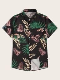 Camisa De Botão Masculina Shein - Folhagem - Preta