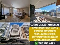 Conde de Castanheira, 4 quartos revertidos para 2 suítes em 132m² e 3 vagas na garagem
