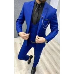*Terno Executivo Slim Kit (Paletó + Calça + Confiança) em Oxford Masculino