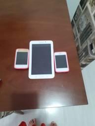 Tablet Samsung + 2 celulares LG para retirada de peças