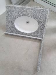 Pia de granito com louça embutida para banheiro com frontão incluso