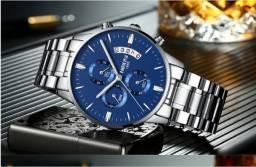 Relógio Nibosi prata azul