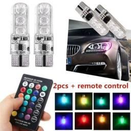 LED RGB T10(PINGO)+CONTROLE REMOTO