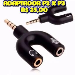 Adaptador áudio P2 x P3